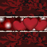 Valentine card. Valentine composition with hearts and baroque decorations Royalty Free Stock Image