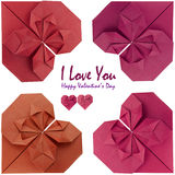 Valentine  card. Valentine card frame of  red origami hearts Stock Images