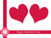 Valentine card. With red hearts Royalty Free Stock Photography