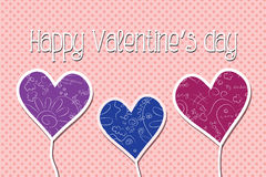 Valentine card. Greeting card with patterned hearts Stock Photo