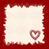 Valentine Card. A textured valentine card with a heart in the bottom right corner Stock Image