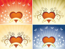 Valentine card. With heart, flowers and butterflys Royalty Free Stock Image