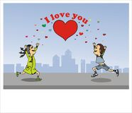 Valentine card. Boys fall in love with girls, valentine card Stock Photo