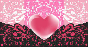 Valentine card. Valentine's day greeting card with abstract Hearts and floral elements Stock Photo