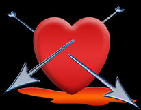 Valentine card. Red heart pierced by two arrows Stock Image