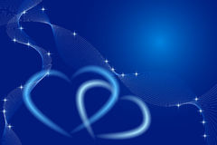 Valentine card. Hearts on blue tones and stars Stock Images
