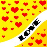 Valentine card. Yellow valentine card with hearts Stock Image
