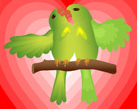 Valentine card. Kissing lovebirds on heart shape background Royalty Free Stock Photos