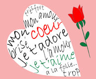 Valentine card. With French text Stock Photos