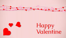 Valentine card with  abstract hearts and roses Stock Photos