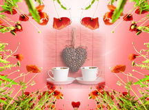Valentine card as heart with poppies in sun`s glow (February 14, Stock Photos