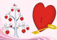 Valentine card as key from heart Royalty Free Stock Images