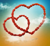 Valentine card background with chains of hearts. In the sky Stock Image