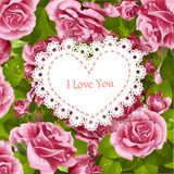 Valentine card on a background of pink roses Royalty Free Stock Photography