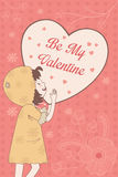 Valentine card with Be My Valentine words Stock Image