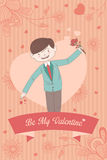 Valentine card with Be My Valentine words Royalty Free Stock Photo