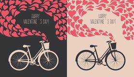 Valentine card with bike Stock Images