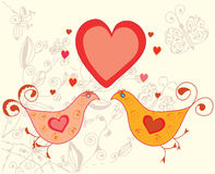 Valentine card with birds Stock Photography
