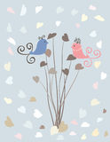 Valentine card with birds Royalty Free Stock Photo