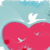Valentine card with birds. Vector abstract background with birds Stock Illustration