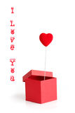 Valentine card with box and heart. Valentine card with red box and heart Stock Images