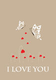 Valentine card-butterflies Royalty Free Stock Images