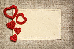 Valentine card on canvas background Stock Image