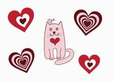 Valentine card cat bird. Valentine card with cat, bird and hearts, vector illustration Stock Photo