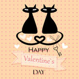 Valentine card with cats in love Royalty Free Stock Photo