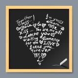 Valentine card on chalkboard Royalty Free Stock Photos