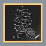 Valentine card on chalkboard Stock Photo