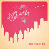Valentine card city landscape with skyscrapers silhouette Royalty Free Stock Image