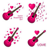 Valentine Card Collection. Collection of pink guitars with hearts Valentine card illustrations Stock Photo