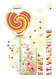 Valentine Card with Colorful Lollipop and Bubbles Royalty Free Stock Image