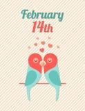 Valentine Card con i pappagalli Vector l'illustrazione, EPS10 Fotografie Stock Libere da Diritti