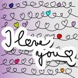 Valentine Card con le linee di cuori scritte a mano Immagine Stock Libera da Diritti