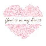 Valentine Card con le rose nella forma del cuore Fotografia Stock