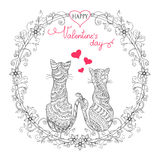 Valentine card with couple cats Stock Photo