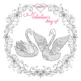 Valentine card with couple swans Stock Photos