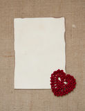 Valentine card with crochet heart Royalty Free Stock Photo