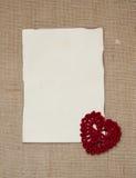 Valentine card with crochet heart. Valentine card with  crochet  heart Royalty Free Stock Photo