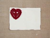 Valentine card with crochet heart. Valentine card with  crochet  heart Royalty Free Stock Photography