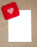 Valentine card. With cross stitched heart Stock Image