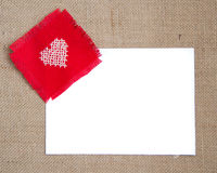 Valentine card. With cross stitched heart Royalty Free Stock Photos