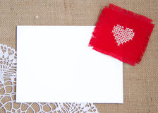 Valentine card. With cross stitched heart Stock Images