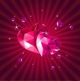 Valentine card with crystal hearts Stock Images