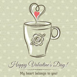 Valentine card with cup of hot drink and  text Stock Images