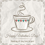 Valentine card with cup of hot drink and wishes text Stock Photography