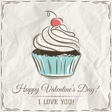 Valentine card with cupcake and wishes text Royalty Free Stock Photography