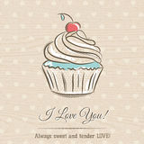 Valentine card with  cupcake and wishes text,  vector Royalty Free Stock Photo
